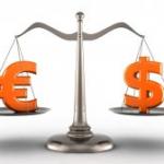 euro en dollar op weegschaal